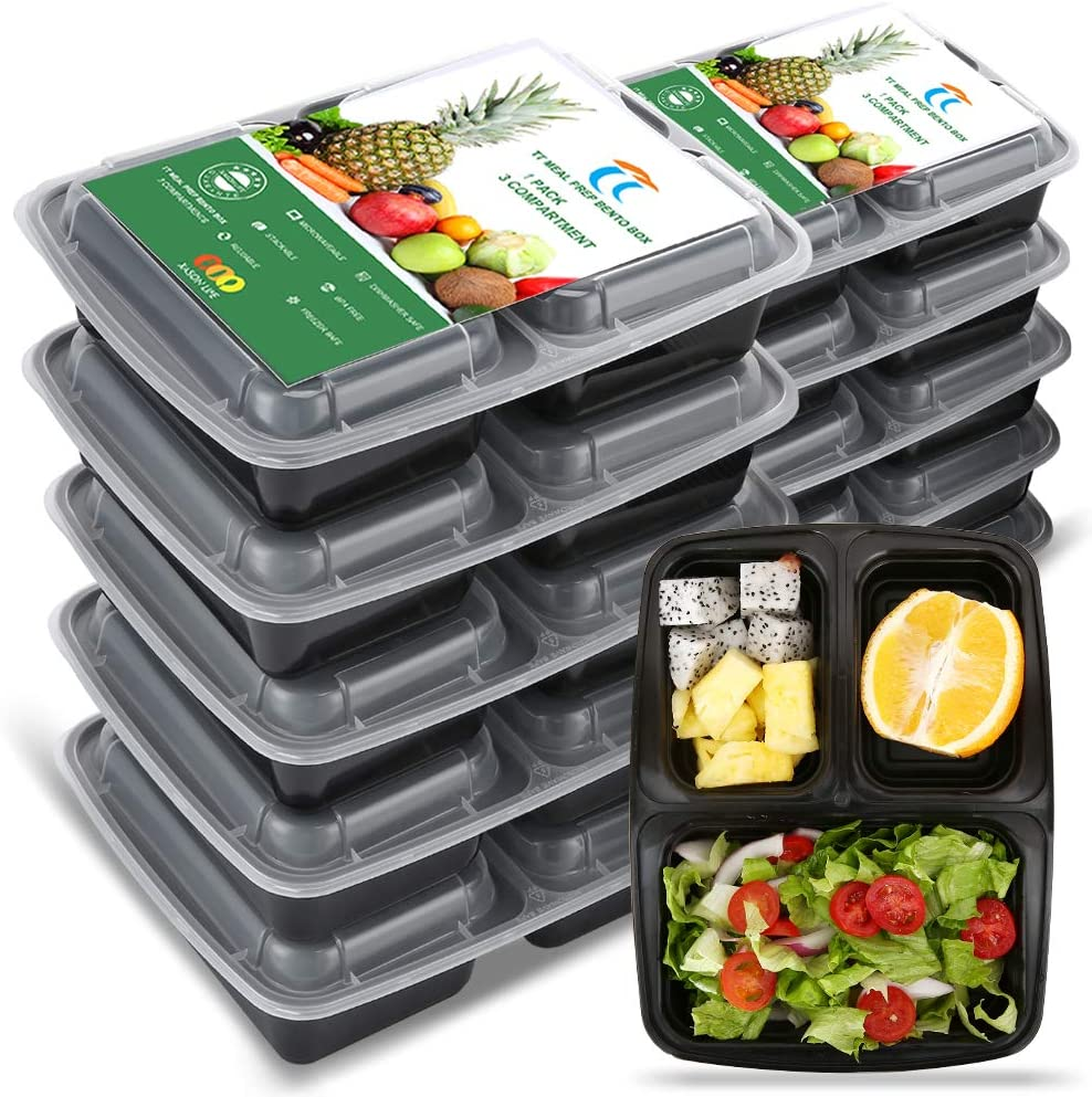 TT Meal Prep Containers 3 Compartment 11Pack Plastic Bento Box Reusable 32Ounce Heavy Duty Contianer To Go Container,BPA Free,Microwaveable Freezer and Dishwasher Safe