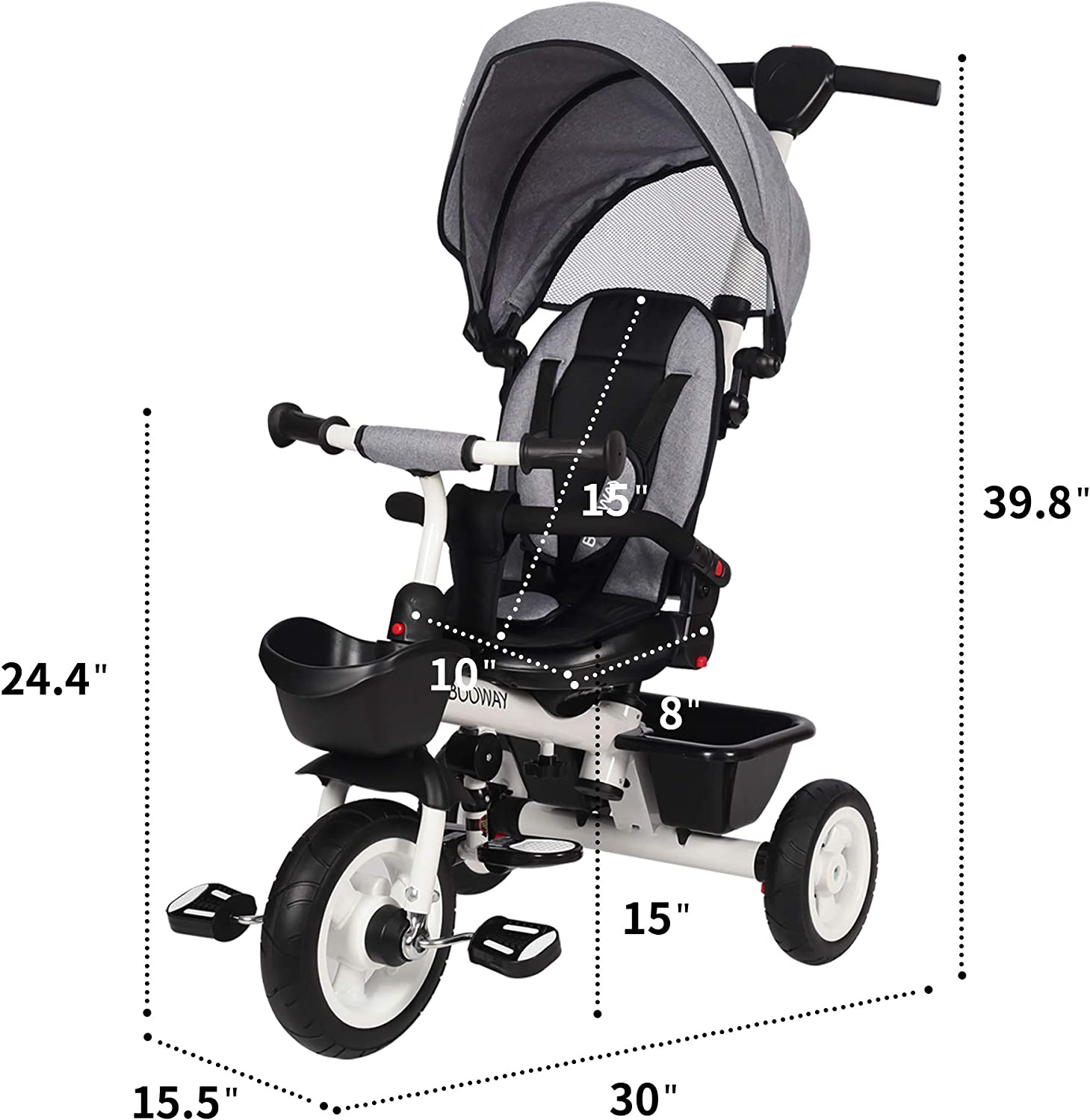 6-in-1 Kids Stroller Tricycle with Adjustable Push Handle Removable Canopy Safety Harness for 6 Months BOOWAY Baby Tricycle 5 Year Old