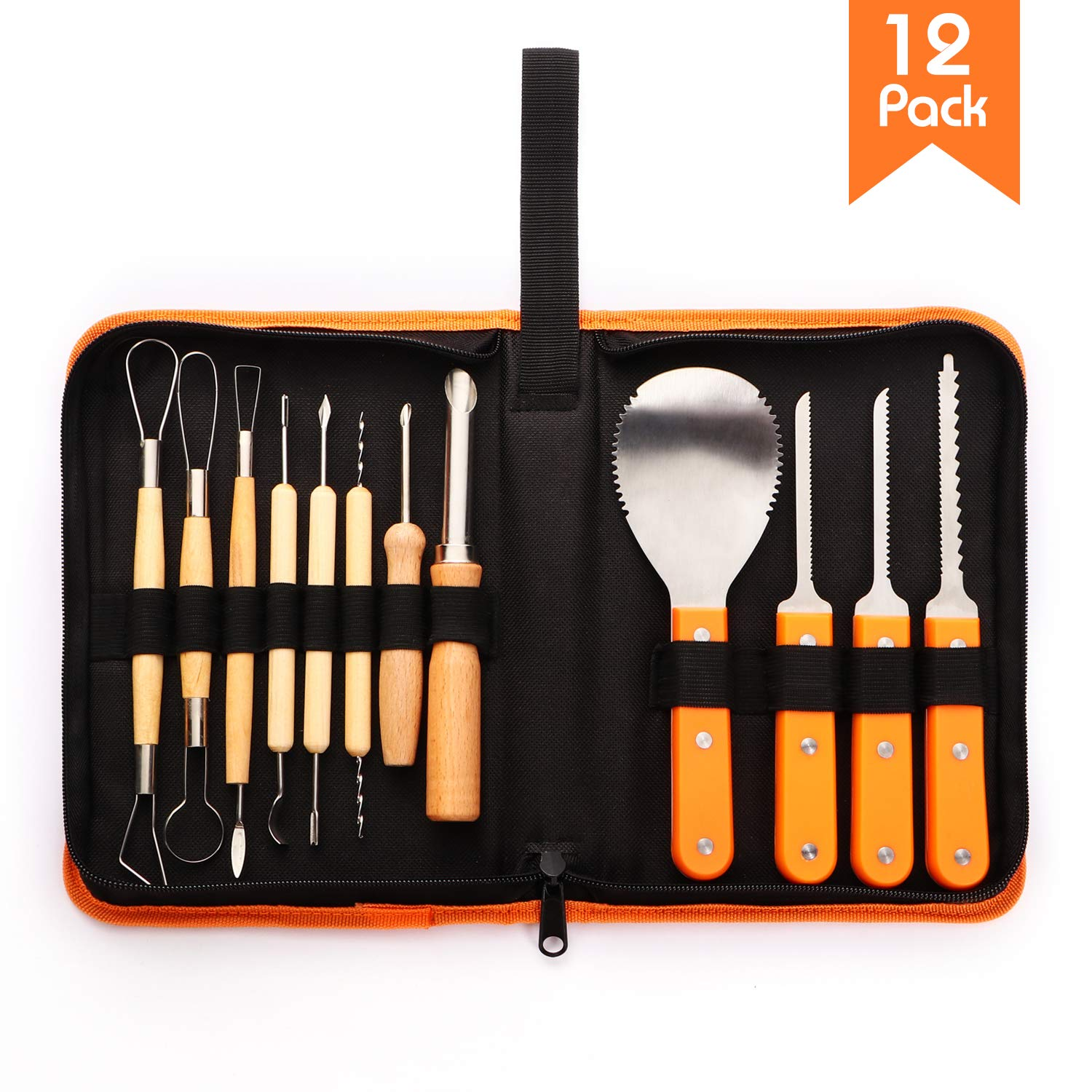 Halloween Professional 12 Piece Pumpkin Carving Tools Kit-Comfortable Wooden Handle Combined with Stainless Steel Head-Easily Carve Sculpt Halloween Jack-O-Lanterns-with Storage Box