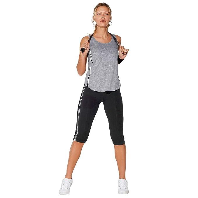 34c27ecc VENCA Legging corsario de Cinturilla elástica Mujer by Vencastyle - 017844, Negro,S