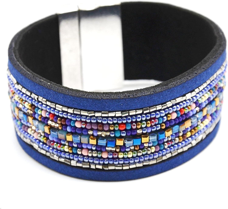 BC870F-Pulsera con manga protectora de fieltro con varias vueltas de perlas-Rocaille modo de fantasía, color azul marino