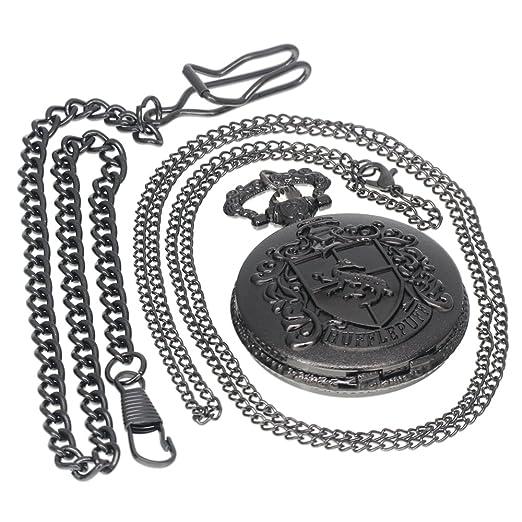 Helga Hufflepuff House Logo Harry Potter Steampunk Black Pocket Watch  Necklace Antique Men Women Pocket Watches