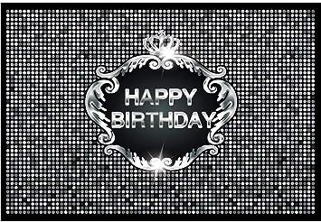 GoEoo 8x6.5ft Happy Birthday Vinyl Photography Background Dense Silver Spots Shiny Sliver Crown Banner Birthday Backdrop Child Kids Adult Birthday Party Banner Wallpaper Studio Photo Props