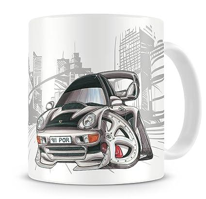 Porsche 911 KOOLART kruzroyal caricatura de Turbo negro - Taza de café