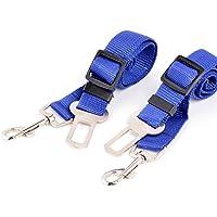 Neuftech 2 x Ajustable Cinturones de Seguridad Perros de Mascotas para Coche - Azul