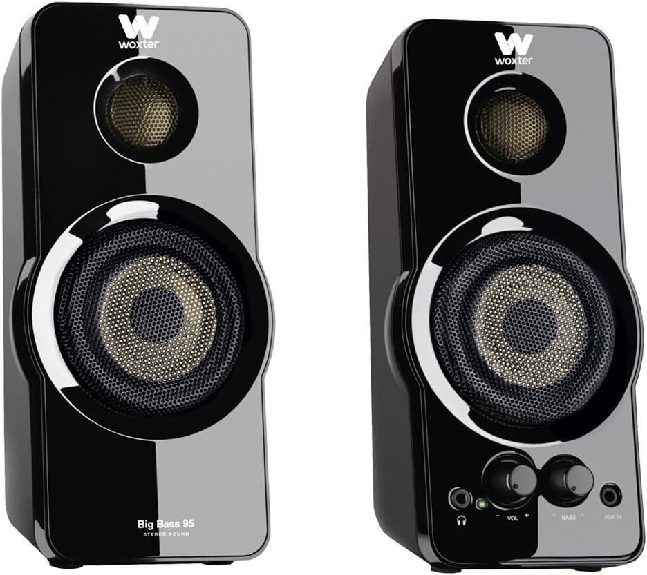 Woxter Big Bass 95 - Altavoces Multimedia Estéreo, 20W, Potentes, conexión 3,5mm, Botones y conexiones AUX y CASCOS en parte frontal, terminación piano, PC / Smartphones y videoconsolas
