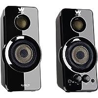 Woxter Big Bass 95 - Altavoces multimedia estéreo (20 W, conexión 3.5 mm, botones y conexiones AUX, cascos en parte frontal, terminación piano, óptimo para PC/ smartphones/ videoconsolas)