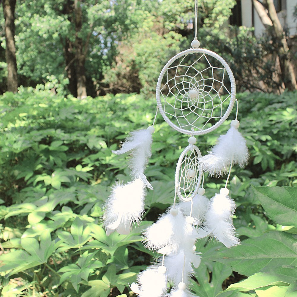 Dream Catcher Decor, Marsway 2016 Creative India Style Dreamcatcher With Feather Wall Hanging Hanging Ornament Craft Gift White by Marsway
