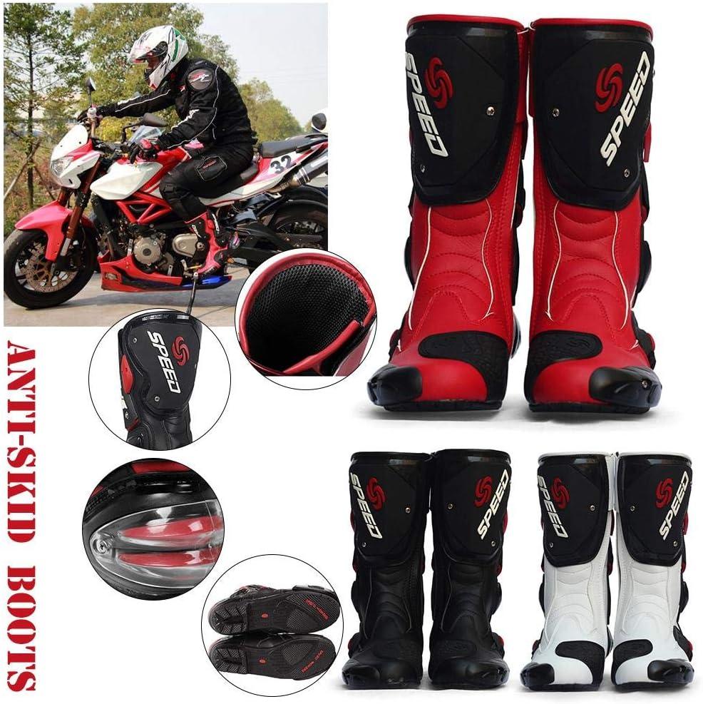 iBasteFR Bottes Moto en Cuir Chaussures Bottes Moto Pro Biker Speed Bikers Bottes Moto Moto Racing Bottes Moto Tout Terrain