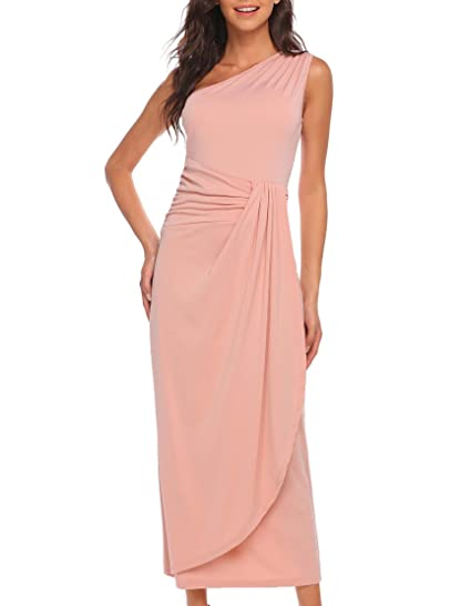 Meaneor Womens One Shoulder Full Length Ruched Wrap Elegant Evening Party Gown Dress