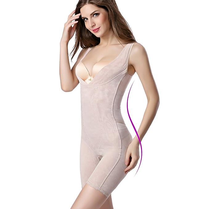 17ab4dd7d58dc KOOCHY Women s Seamless Firm Control Thigh Slimmer Bodysuit Tummy Control  Body Shaper Open-Bust Shapewear