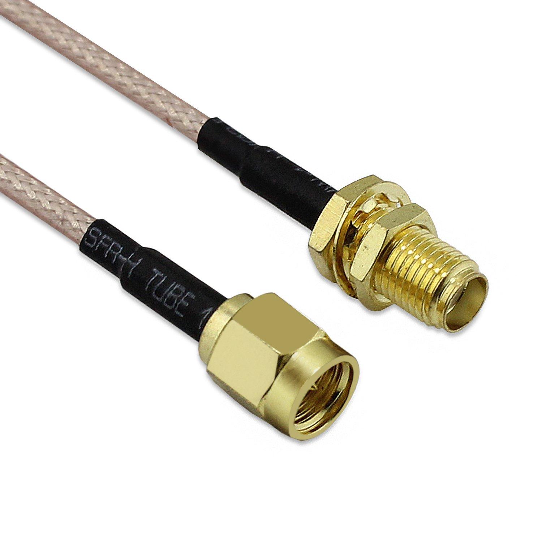 BNC-Buchse auf Stecker MCX zum m/ännlichen rechtwinkligen Kabel Adapter 2-Pack