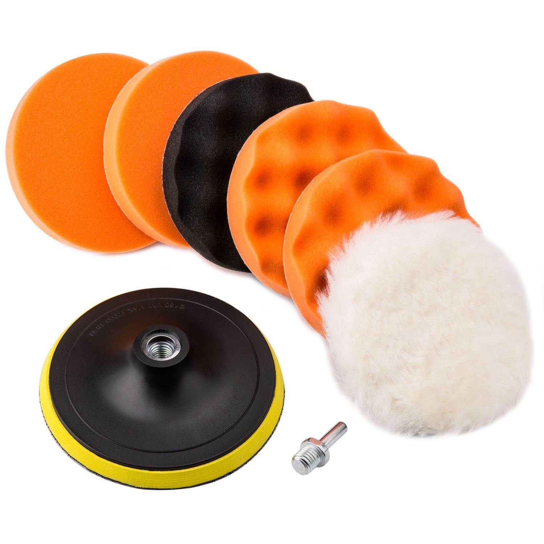 Kit Pulido de Faros - VANWALK 8 Piezas 6 Pulgadas Para Pulir / Esponja de Pulido Para el Coche Encerado Lijado