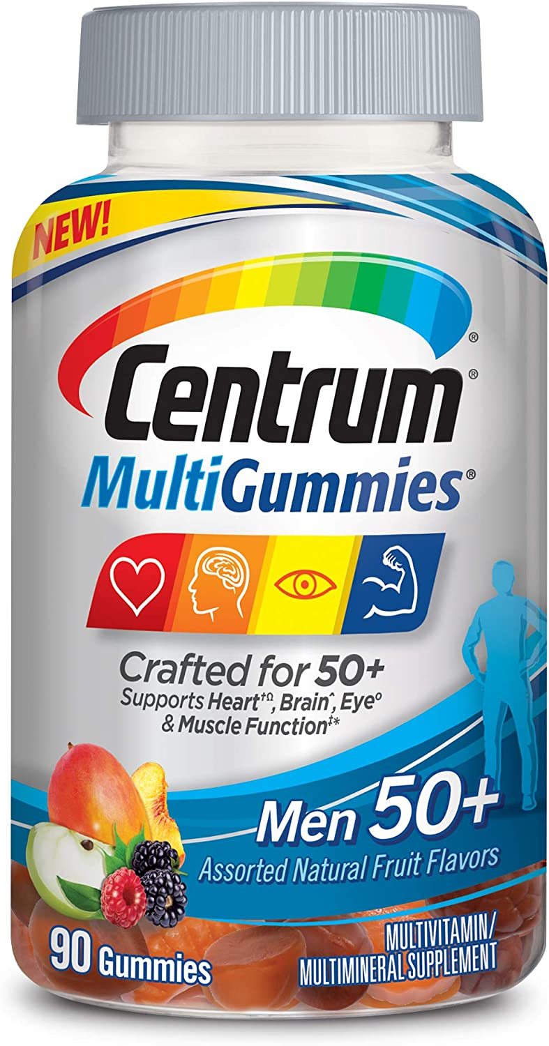 New Centrum MultiGummies Men 50+ (90Count) Multivitamin/Multimineral Supplement Gummies, with 100% DV of Vitamins D3, E, B6, B12, Age 50+