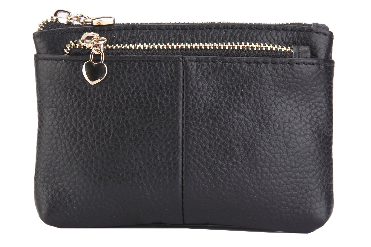 ZORESS Women Genuine Leather Zip Mini Coin Purse With Key Ring Triple Zipper Card Holder Wallet (Black)