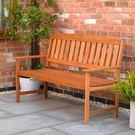 Wood Wooden Two 2 Seater Garden Park Bench Seat Chair Patio Furniture FSWBENCH