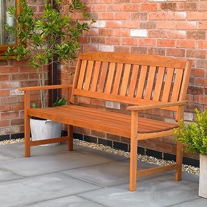 Incredible Kingfisher 3 Seater Hardwood Garden Patio Bench Machost Co Dining Chair Design Ideas Machostcouk