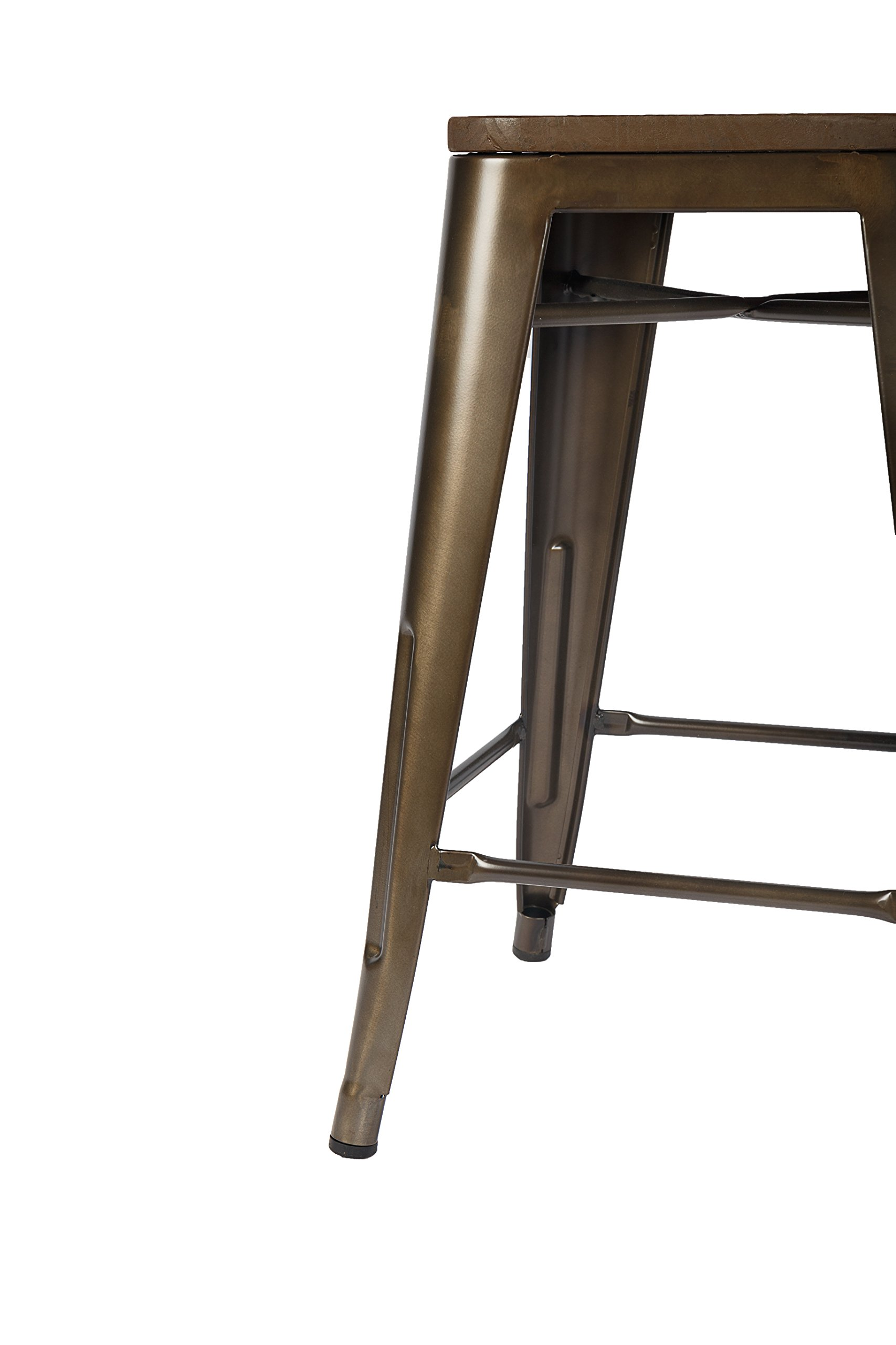 LCH 24 Inch Patio Metal Industrial Bar Stools, Set of 4 Indoor/Outdoor Counter Stackable Barstool with Wood Seat, 500 LB Limit, Antique Copper by LCH (Image #9)