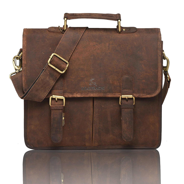 f27e493b3f Leaderachi Men s Muskat Hunter Leather Briefcase - Parma  Amazon.in  Bags