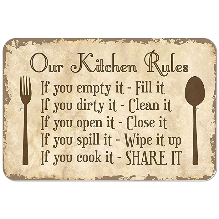 "Our Kitchen Rules 9"" x 6"" Metal Sign"