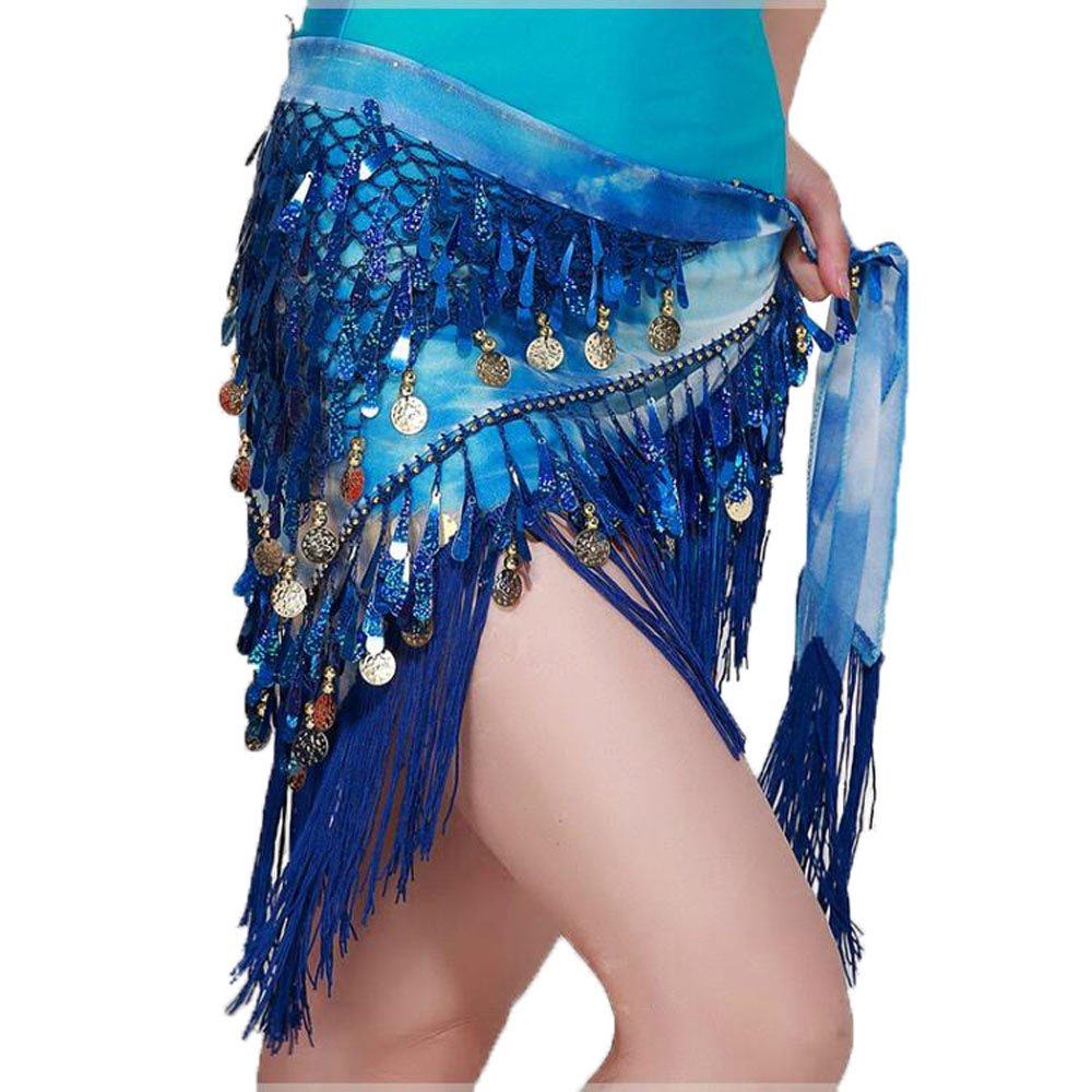 BellyQueen Women Belly Dance Dress Costume Scarf Wrap Sequins Tassels Belts Gold Coins Chiffon New 170cm Skirts