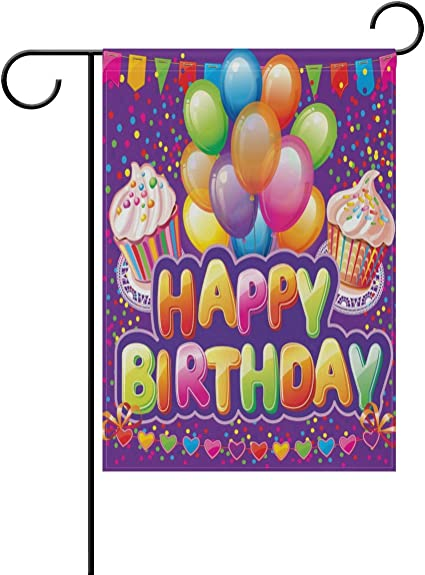 Amazon Com Alaza Colorful Balloons Happy Birthday Garden Yard Flag 12 X 18 Double Sided Sweet Cup Cake Birthday Party Decorative Garden Flag Banner For Outdoor Home Decor Party Garden