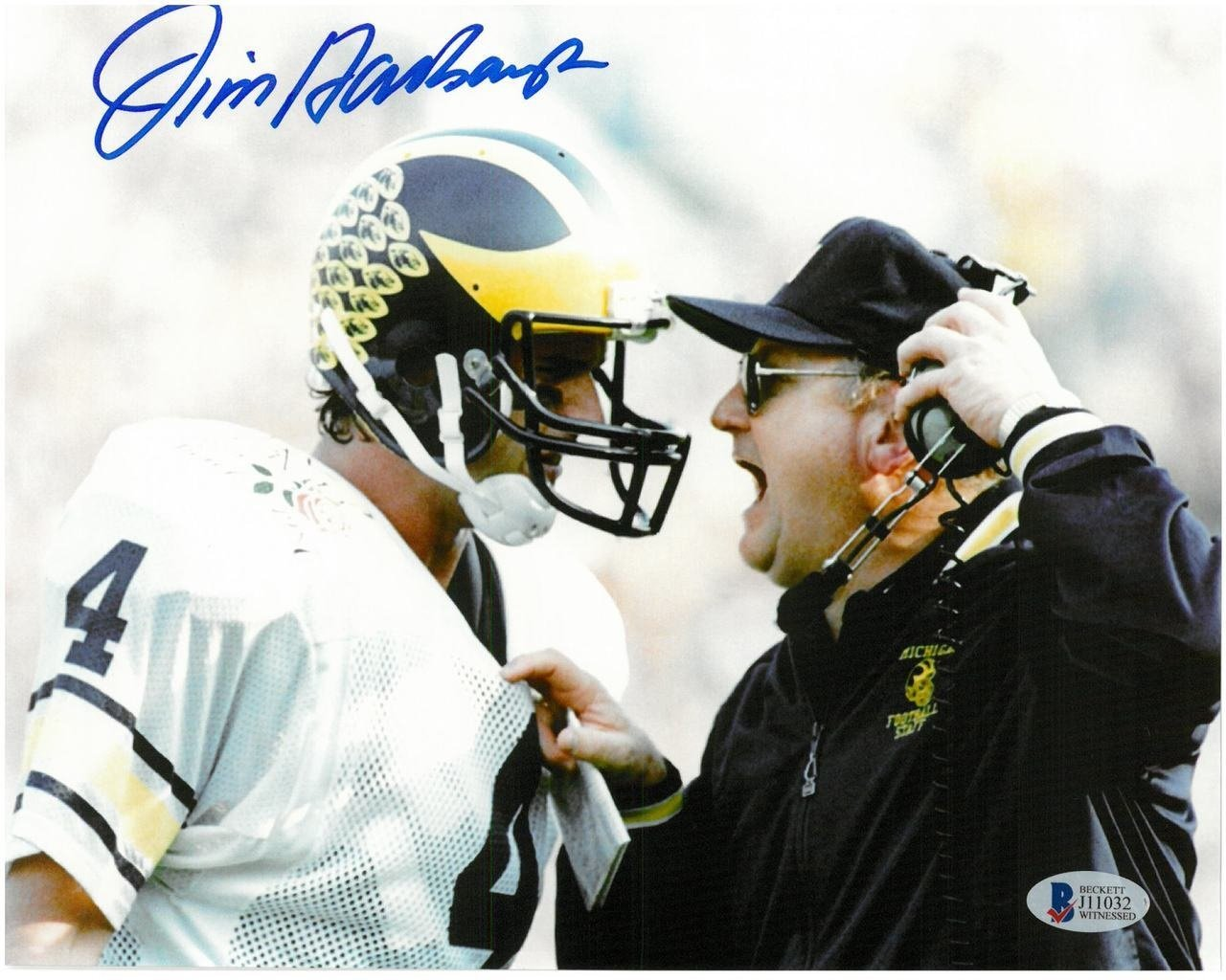 JIM HARBAUGH AUTOGRAPHED UNIVERSITY OF MICHIGAN 8X10 PHOTO #1 - JIM & BO Detroit City Sports