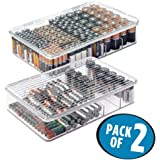 MDesign Stackable Battery Storage Organizer Box, 5 Compartments, Hinged Lid  For AA, AAA