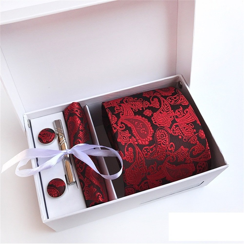 SKNSM Gentleman Herrenmode Business Paisley Krawatte Manschettenknöpfe Taschentuch Krawatte Clip Geschenkbox für Krawattensets