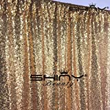 DUOBAO 4FTX15FT-Gold-Sequin Backdrop Photo Booth Background Sequin Curtain Sequin Photography For Xmas Decoration-Pack of 10