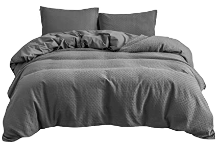 PHF Waffle Weave Duvet Cover Set 100 Cotton Lightweight And Breathable Textured Bedding 3 Pieces Soft Vintage Elegant King Size Grey With Button