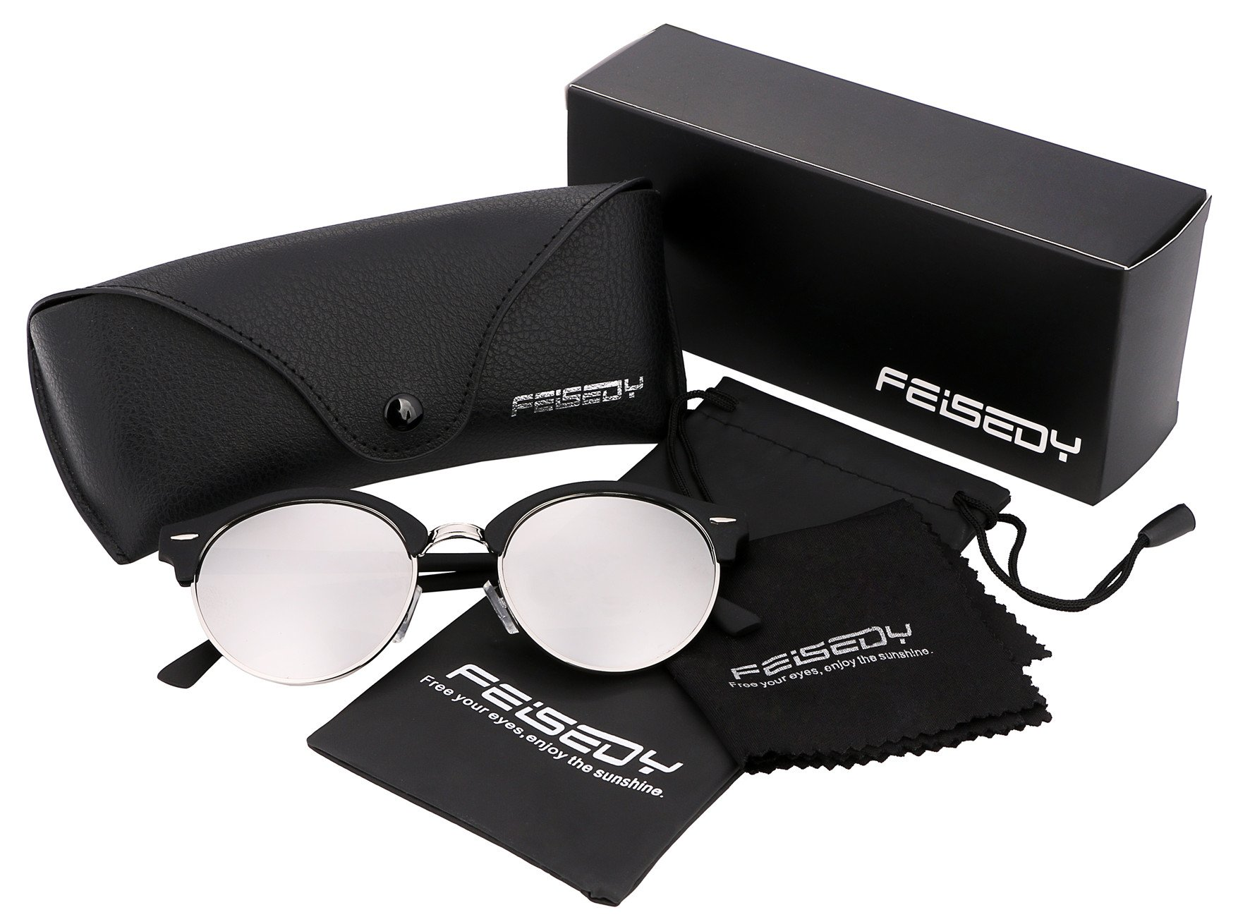 FEISEDY Classic Semi-rimless Round Frame Plastic Lens Sunglasses for Men Women B1882 by FEISEDY (Image #5)