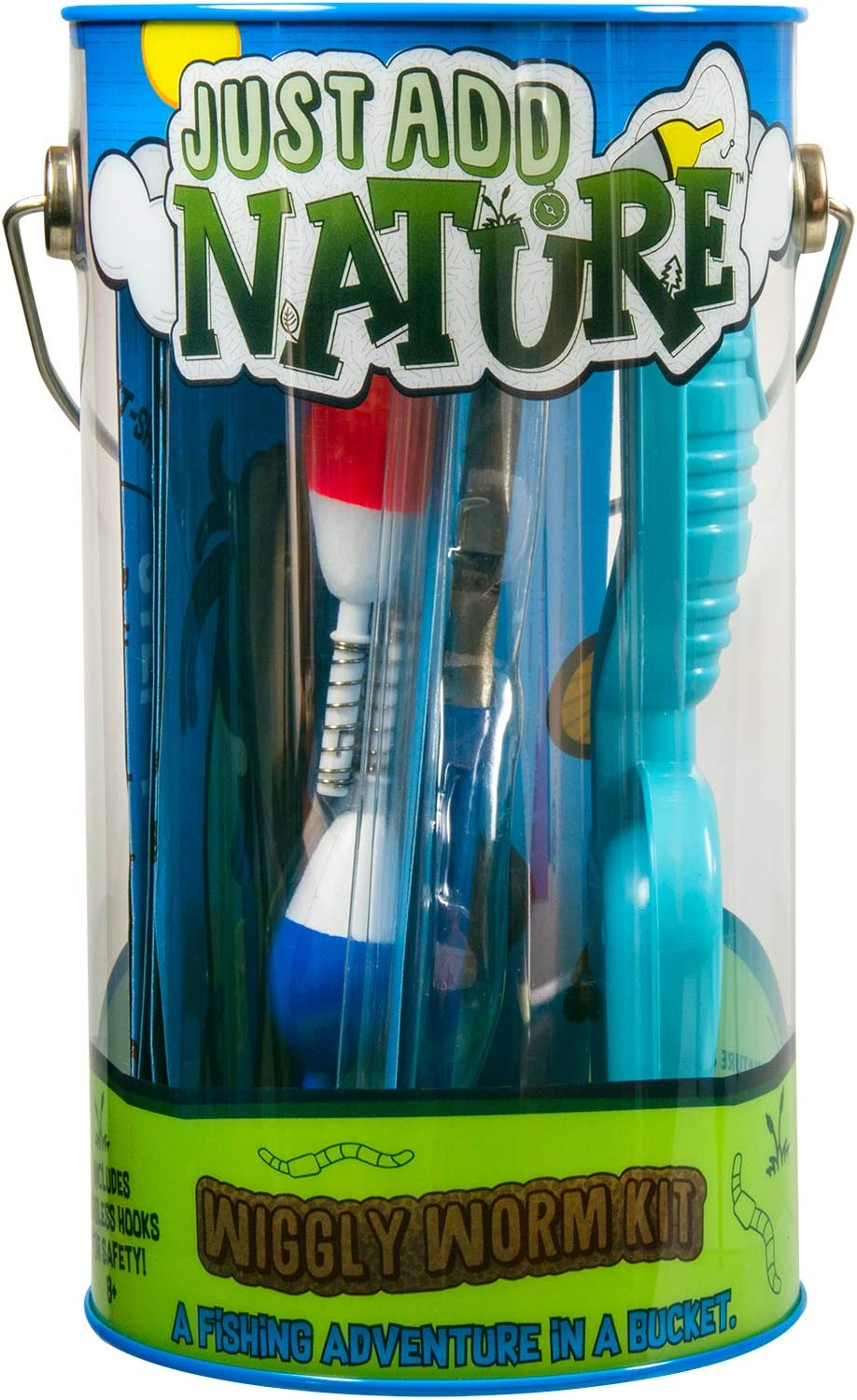 Just Add Nature Fishing Adventure in a Bucket Beginner Fishing Kit for Kids - Teaches Kids How to Fish - Includes Hooks, Tools and Accessories
