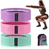 Xcellent Global Strength Booty Fabric Bands, Fabric Resistance Bands for Legs and Booty, Workout Hip Circle Bands and Carrying Bag Included, 3 Pack/Set SP147