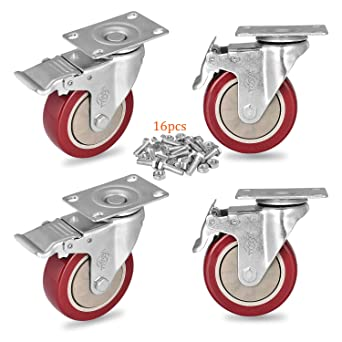 Size : 3 inch Orientation 2+Brake 2 Casters 4pcs Furniture 2.5//3Inch Silent TPR Universal Furniture Coffee Table Cart
