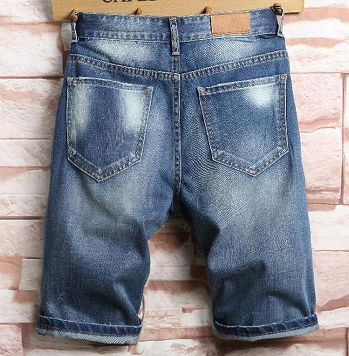 b050147c1b2 Summer Mens Denim Shorts Slim Cotton Casual Beach Short Hole Jeans Shorts  for Men  Amazon.co.uk  Clothing