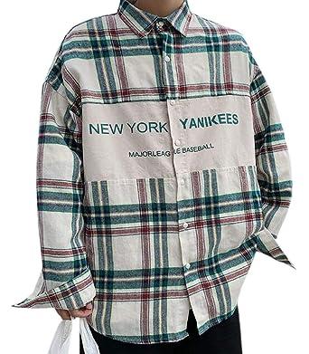 Hajotrawa Mens Lapel Vogue Thick Long Sleeve Faux Twinset Printed Shirts