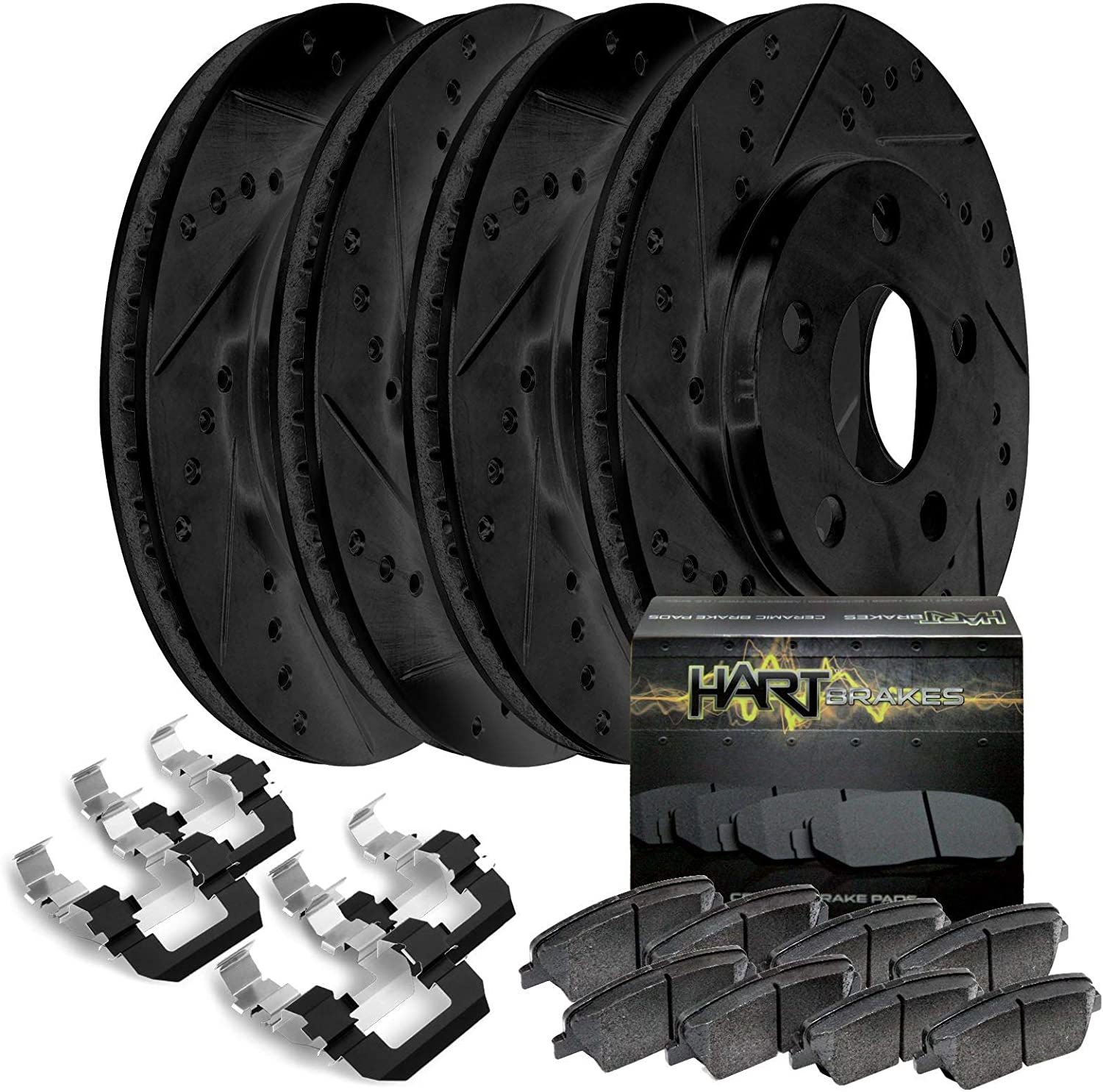 Front Set eLine Black Zinc Slotted Brake Rotors Ceramic Brake Pads