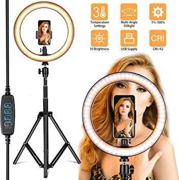 Ring Light/&Cell Phone Mount Holder Tripod Stand,Unine Dimmable Makeup Photography Camera Holder Stands for Live Stream//YouTube Video,for iPhone Android-Not Inclued Ringlight Tripod Stand