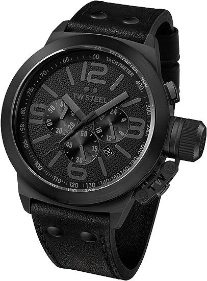 TW Steel TW843 - Reloj cronógrafo de cuarzo unisex con correa de piel, color negro