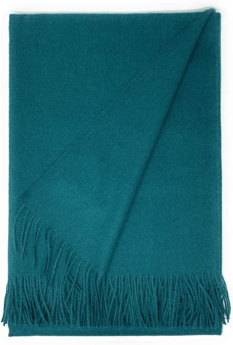 100% Baby Alpaca Wool Solid Throw Blanket, All Natural, Hypoallergenic & Allergen Free Home Decor Travel, 51 x 71 inches (Timeless Teal)