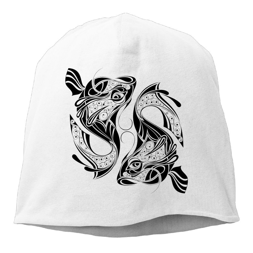 Janeither Fashion Solid Color Chinese Painting Fish Pattern Beanie Cap for Unisex Black One Size