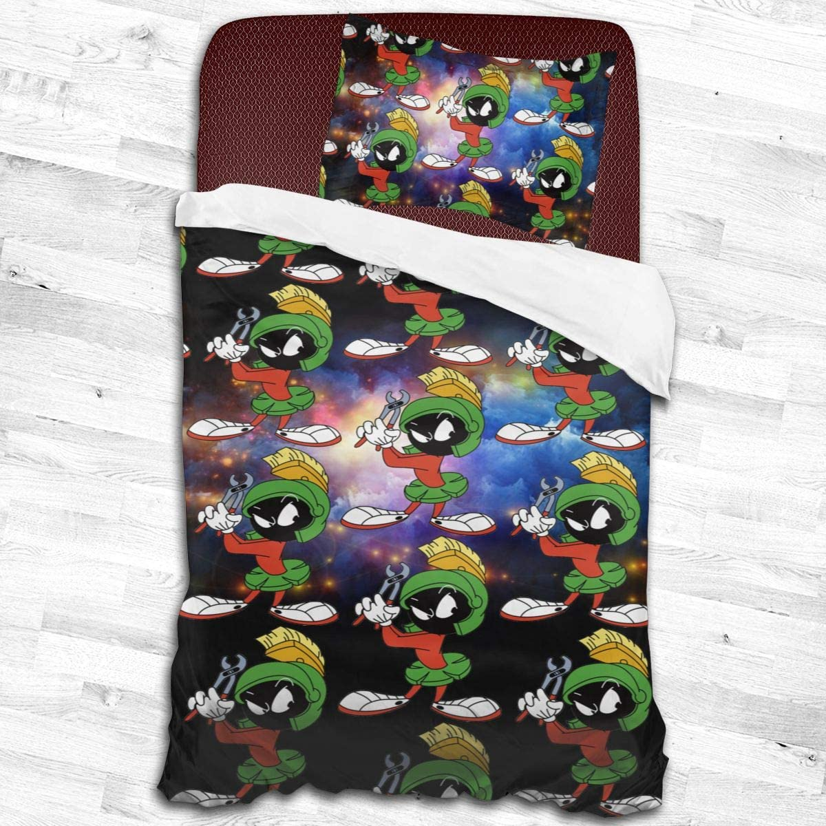 Ongjiadx Marvin The Martian 2 Piece Kids Bedding Set Toddler Bed Sheet 1 Duvet Cover Set with 1 Pillowcase for Teens and Children