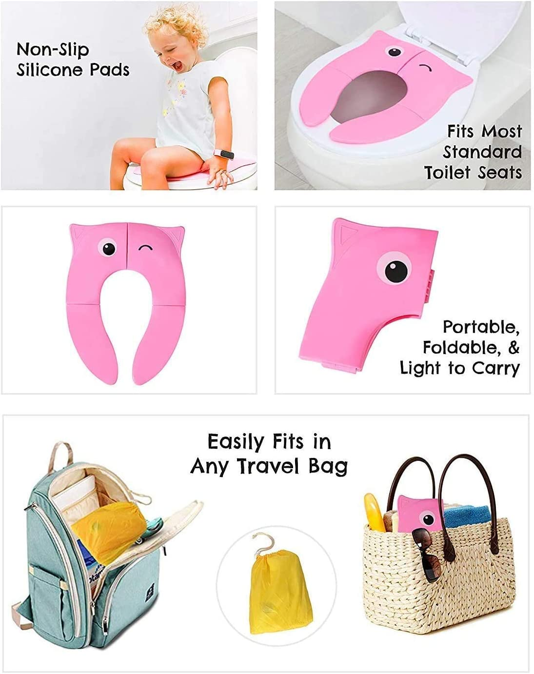 Winkin Owl, PINK INFANTO Foldable Potty Toilet Training Seat Portable Travel Potty Training Seat for Toddler Baby Toilet Seat Covers Liners with 4 Non-Slip Pads