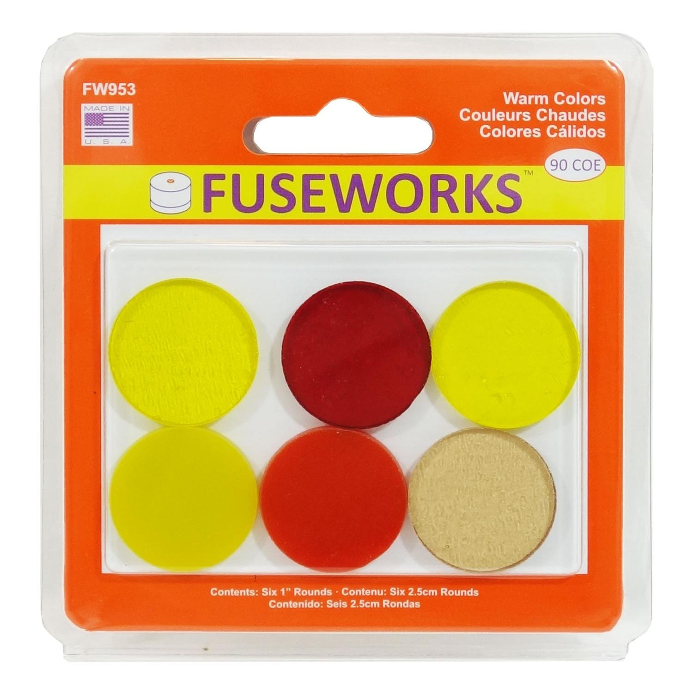 90 COE Fuseworks Warm Colors Circles 6 Piece Assortment