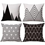 Modern Simple Geometric Style Soft Linen Burlap Square Throw Pillow Covers, 18 x 18 Inches, Set of 4 (Black)