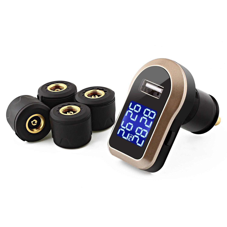Snan Sistema de control inalá mbrico de la presió n de neumá ticos (4x sensores, ofrece informació n en tiempo de la presió n real y la temperatura de ruedas, indicador LED)