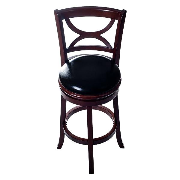 Lavish Home Swivel Bar Stool with Back, Dark Wood Finish