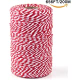 Bakers Twine,Upintek 200M Red and White Cotton Twine Packing String for Gardening, Decoration, Tying Cake and Pastry Boxes, Silverware, DIY Crafts & Gift Wrapping,Art and Crafts (2mm/656Feet)