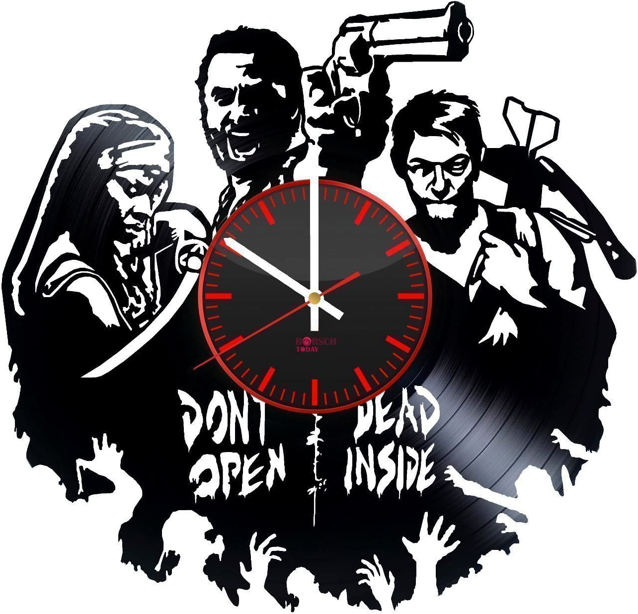 Walking Dead Handmade Vinyl Record Wall Clock - Get Unique Living Room Wall Decor - Gift Ideas for Adults and Youth – Horror Movie Characters Unique Modern Art